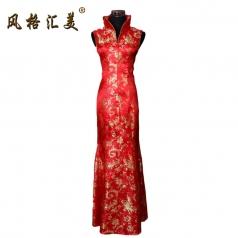 风格汇美 新款无袖红色印花长款复古旗袍裙 大上海旗袍 中式婚纱