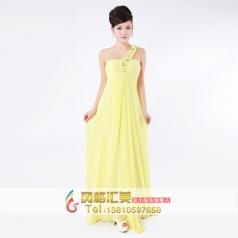 黄色单肩晚礼服 主持人礼服 伴娘礼服