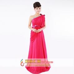 红色单肩晚礼服 敬酒服 结婚礼服