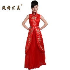 风格汇美 红色立领奥运旗袍裙 结婚敬酒司仪新娘伴娘旗袍 特价