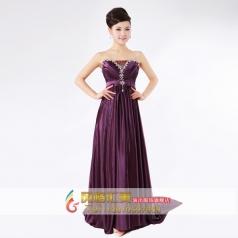 紫色抹胸简约长款礼服 主持人礼服