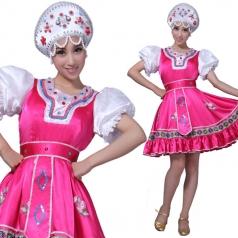 订做风格汇美 俄罗斯舞台演出服 表演服装舞蹈服 粉色舞台套装