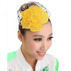 黄色针织银色装饰花秧歌民族现代头花开场舞台演出舞蹈表演
