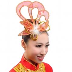 红色网纱白色羽毛花秧歌民族现代头花开场舞台演出舞蹈表演红色