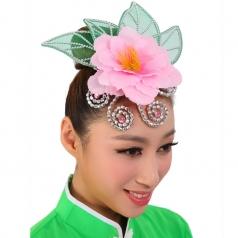 粉色绿叶头饰花秧歌民族现代头花开场舞台演出舞蹈表演广场红色