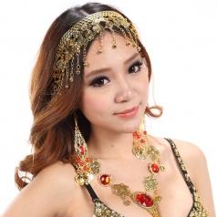 肚皮舞套装镶钻金色发卡 女士印度舞拉丁舞用饰品 舞蹈演出饰品
