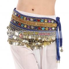 新款特价肚皮舞腰链金币带钻单排宝石印度舞腰巾埃及舞腰封