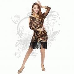 新款豹纹拉丁舞蹈服 舞台装 新款广场舞裙子