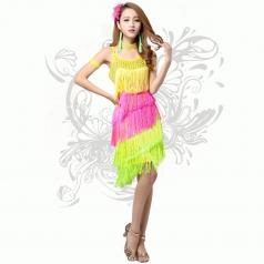 新款拉丁舞台服装 吊带流苏连衣裙