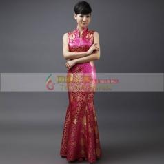 玫红长款修身旗袍