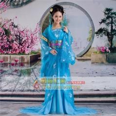 风格汇美蓝色古装女士汉服演出服饰舞台服饰