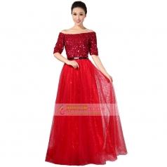 新款大红色亮片女士合唱服装定做_风格汇美演出服饰