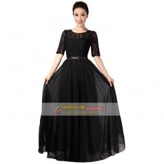 黑色蕾丝女士合唱服装定做_风格汇美演出服饰