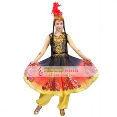 风格汇美新疆舞蹈演出服 新疆姑娘舞蹈服装 少数民族舞蹈服装女