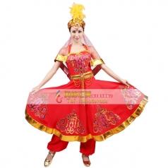风格汇美新款新疆舞蹈演出服维族舞蹈服装女红色少数民族舞蹈服装