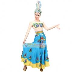 风格汇美新款傣族舞蹈服装女民族舞蹈演出服傣族长袖舞蹈演出长裙