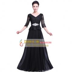女士黑色蕾丝合唱服装,新款长袖合唱服装定做