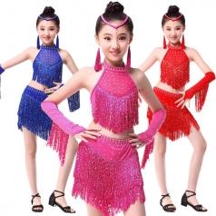 儿童拉丁舞流苏服装 交谊舞服装 舞蹈服装 国标舞舞蹈服装