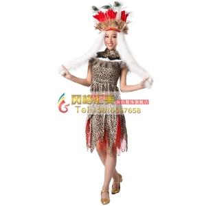 风格汇美 非洲部落表演服装 女士野人肚皮舞演出 万圣节舞蹈服装