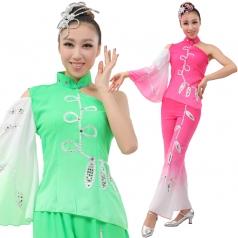 定制风格汇美 女士秧歌服装 玫红绿色演出服装 秧歌表演服服装采茶舞