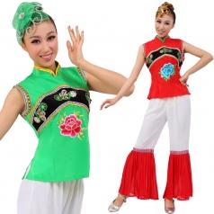风格汇美正品 舞台秧歌表演服 民间舞蹈演出服装 红色绿色