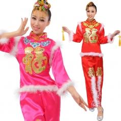 定做风格汇美 女士秧歌服装 玫红色福字演出服装 秧歌表演服服