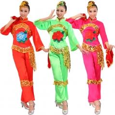 风格汇美正品 舞台秧歌表演服 民间舞蹈演出服装 红色绿色绿色