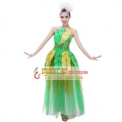 绿色树叶伴舞服 女士开场舞演出服 表演舞台舞蹈大摆裙