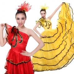 女西班牙红色开场舞大摆裙舞蹈服 北京大舞裙演出服定制