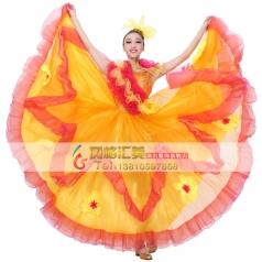 新款现代舞开场大摆裙演出服女 基督教舞 西班牙舞蹈服装伴舞