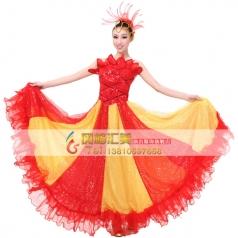 开场舞舞蹈服装 红色伴舞演出服 开场舞大摆裙定制新款