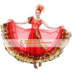 风格汇美正品 开场舞蹈表演服装 红色舞台大摆裙 V领民族演出服