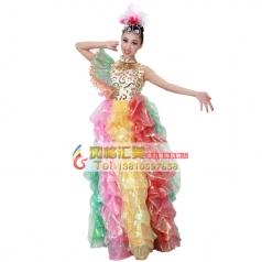 风格汇美女士七彩现代开场舞大摆裙舞台服 年会舞蹈表演长裙定制