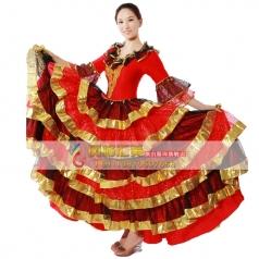 风格汇美正品开场服 红色大摆裙 舞台演出服 民族舞蹈表演长裙