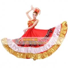 风格汇美 开场舞服装 红色七彩斜肩大摆裙 现代舞蹈演出舞台装