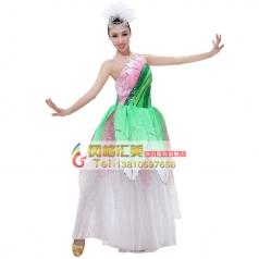 风格汇美粉色伴舞服 女士开场舞台现代演出服 表演舞蹈大摆裙