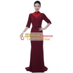 风格汇美女士指挥服装大合唱服装演出服中老年合唱服酒红合唱团服
