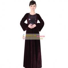 女士长袖丝绒大合唱服装 新款紫色丝绒指挥服装