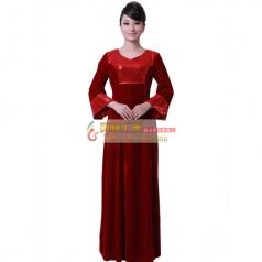 女式大红丝绒长袖合唱服装指挥服装中老年合唱服
