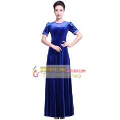 女式丝绒长袖长款合唱服装中老年合唱服装