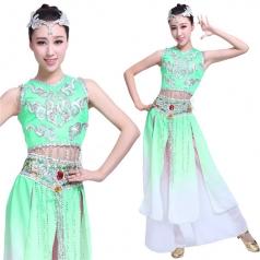 风格汇美新款傣族舞蹈服装女绿色少数民族舞蹈服装傣族舞台装定制