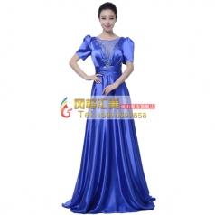 风格汇美新款女士指挥服装演出服大合唱服装舞台装宝蓝色合唱服装