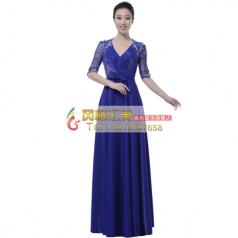 风格汇美新款女士合唱服演出服装宝蓝色V领大合唱团演出服装定制
