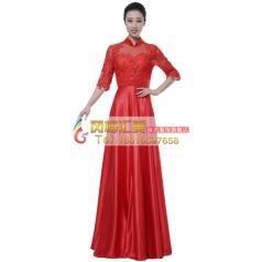 风格汇美新款女士指挥服装中老年大合唱演出服装红色蕾丝合唱服装