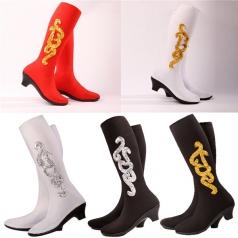 藏族舞蹈靴女士舞蹈靴子舞蹈鞋民族舞蹈演出靴套黑色高弹力靴子