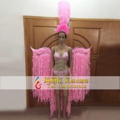新款巴西桑巴舞服,狂欢节羽毛服装,狂欢节羽毛背板定制专家_风格汇美演出服饰