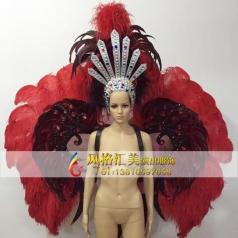 新款桑巴舞服饰,狂欢节舞蹈服装,巴西桑巴舞羽毛头饰批发工厂_风格汇美演出服饰