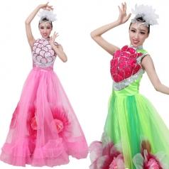 风格汇美女开场舞蹈大摆裙演出服 现代舞台表演服装 鳞片型伴舞裙