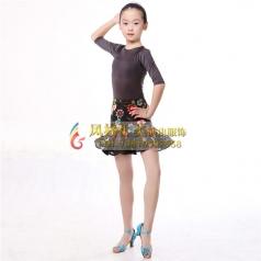女式拉丁舞蹈裙黑色拉丁短裙表演服_风格汇美演出服饰