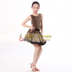 少儿女式拉丁舞蹈裙表演服定做服饰舞台服厂家_风格汇美演出服饰